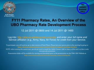 FY11 Pharmacy Rates, An Overview of the  UBO Pharmacy Rate Development Process