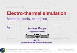 Electro-thermal simulation Methods, tools, examples