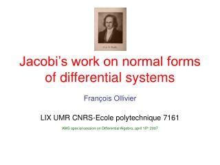 Jacobi's work on normal forms of differential systems