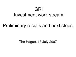 GRI Investment work stream