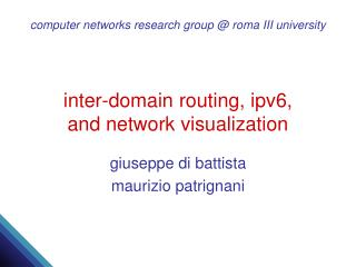 inter-domain routing, ipv6,  and network visualization