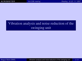 Vibration analysis and noise reduction of the swinging unit