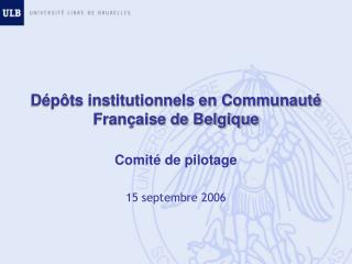D�p�ts institutionnels en Communaut� Fran�aise de Belgique