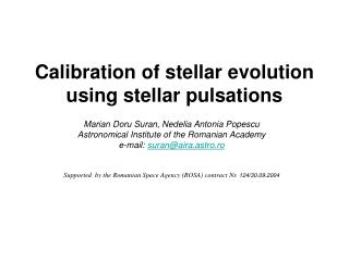 Calibration of stellar evolution using stellar pulsations