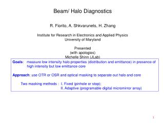 Beam/ Halo Diagnostics