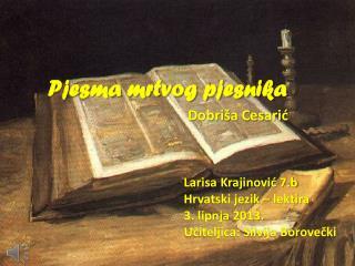 Pjesma mrtvog pjesnika Dobriša Cesarić