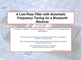 A Low-Pass Filter with Automatic Frequency Tuning for a Bluetooth Receiver