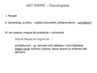 ADY ENDRE -- Összefoglalás