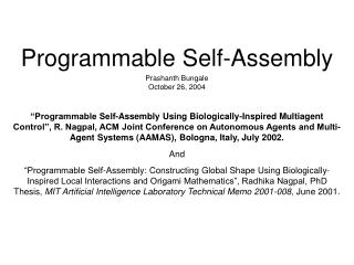 Programmable Self-Assembly