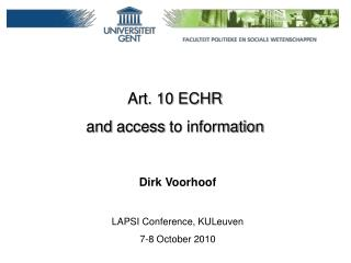 Art. 10 ECHR  and  access  to information