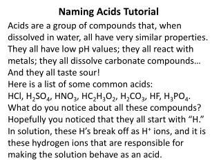 Naming Acids Tutorial