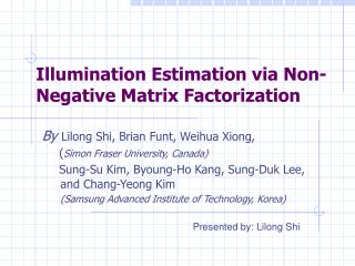 Illumination Estimation via Non-Negative Matrix Factorization