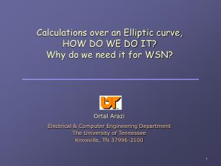 Calculations over an Elliptic curve, HOW DO WE DO IT? Why do we need it for WSN?