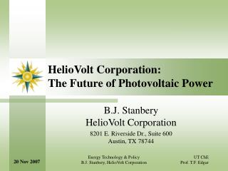 HelioVolt Corporation: The Future of Photovoltaic Power