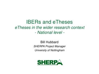 IBERs and eTheses  eTheses in the wider research context - National level -