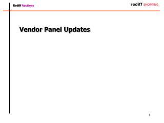 Vendor Panel Updates