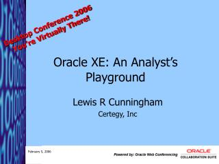 Oracle XE: An Analyst's Playground