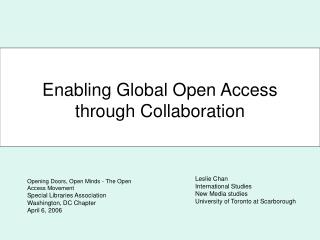 Enabling Global Open Access through Collaboration
