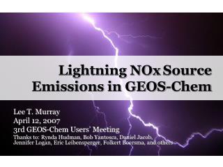 Lightning NOx Source Emissions in GEOS-Chem