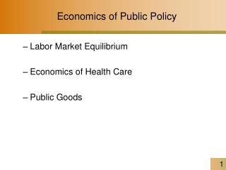 Economics of Public Policy