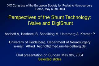 XIX Congress of the European Society for Pediatric Neurosurgery  Rome, May 6-9th 2004
