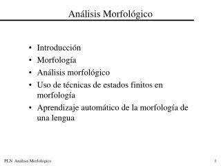 An�lisis Morfol�gico