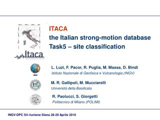 ITACA the Italian strong-motion database Task5 – site classification