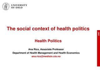 The social context of health politics Health Politics