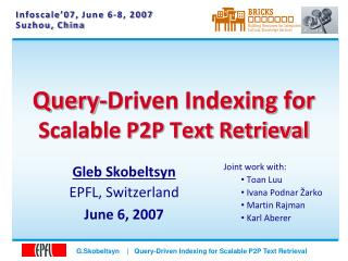 Query-Driven Indexing for Scalable P2P Text Retrieval