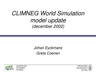 CLIMNEG World Simulation model update (december 2002)