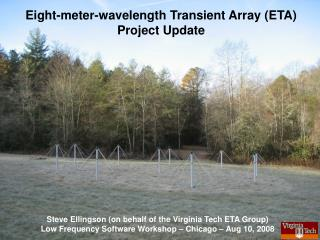 Eight-meter-wavelength Transient Array (ETA)  Project Update