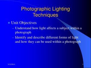 Photographic Lighting Techniques