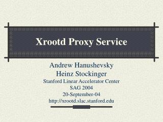Xrootd Proxy Service