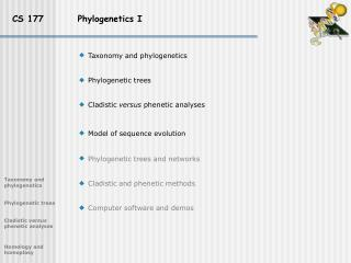 CS 177          Phylogenetics I