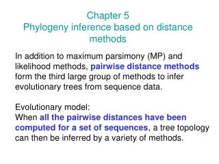 Chapter 5 Phylogeny inference based on distance methods
