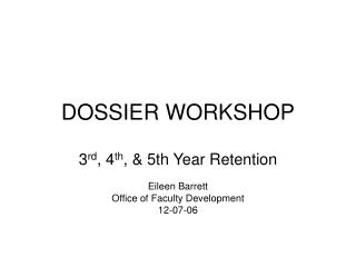 DOSSIER WORKSHOP
