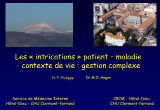 Service de Médecine Interne Hôtel-Dieu - CHU Clermont-ferrand