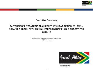 For presentation to Portfolio Committee on 13 March 2012 CEO: Thulani Nzima