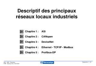 Descriptif des principaux réseaux locaux industriels