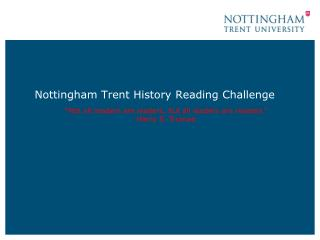 Nottingham Trent History Reading Challenge