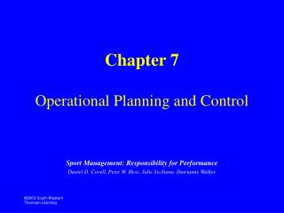 Chapter 7 Operational Planning and Control