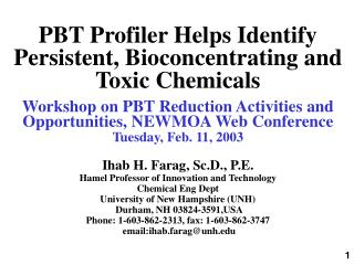 PBT Profiler Helps Identify Persistent, Bioconcentrating and Toxic Chemicals