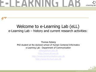Welcome to e-Learning Lab (eLL) e-Learning Lab – history and current research activities: