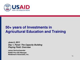 50+ years of Investments in Agricultural Education and Training