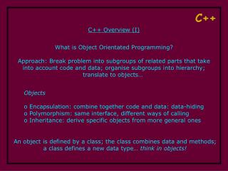C++ Overview (I)