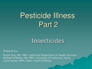 Pesticide Illness  Part 2