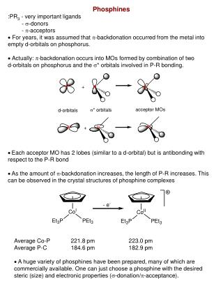 Phosphines :PR 3  - very important ligands     -  s -donors        -  p -acceptors