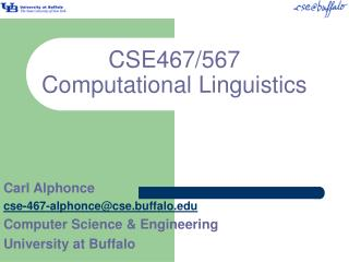 CSE467/567 Computational Linguistics