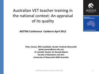 Australian VET teacher training in the national context: An appraisal of its quality