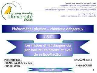 Phénomènes physico – chimique dangereux